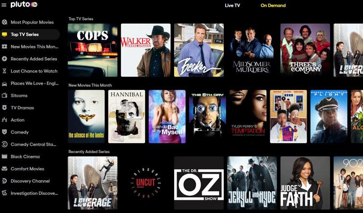 лучшие сайты смотреть фильмы бесплатно - Pluto TV