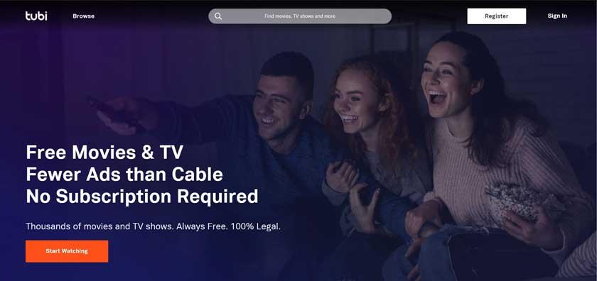 лучшие бесплатные сайты для просмотра фильмов - Tubi TV